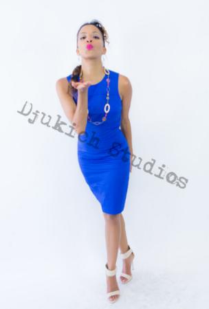 Blue Dress Modeling - Melanie