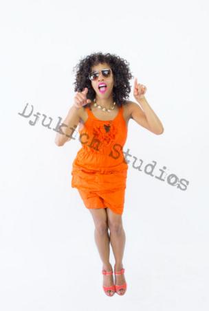 Orange Dress Modeling - Melanie